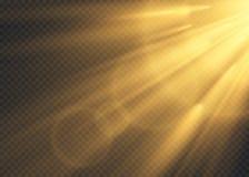 El brillar intensamente blanco ligero estalla en un fondo transparente P?rticulas de polvo m?gicas chispeantes Estrella brillante stock de ilustración
