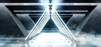 El brillar intensamente cinemático azul blanco del espacio del Grunge de las luces de neón del triángulo de la niebla del humo de stock de ilustración