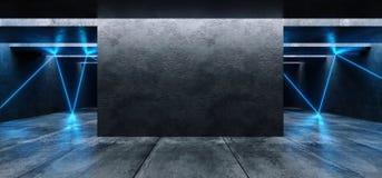 El brillar intensamente cinemático azul blanco del laser de las luces de neón del Grunge del espacio del garaje de la galería sub libre illustration