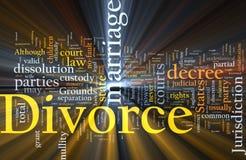 El brillar intensamente de la nube de la palabra del divorcio Imagen de archivo libre de regalías