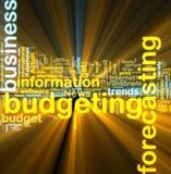 El brillar intensamente de presupuesto del wordcloud Foto de archivo libre de regalías