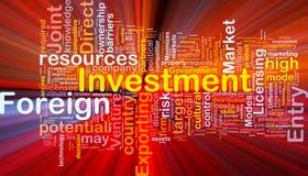 El brillar intensamente del concepto del fondo de la inversión extranjera Fotografía de archivo libre de regalías