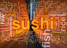 El brillar intensamente del concepto del fondo del alimento del sushi Imagen de archivo