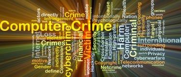 El brillar intensamente del concepto del fondo del delito informático ilustración del vector