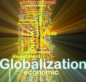 El brillar intensamente del wordcloud de la globalización Foto de archivo