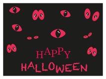 El brillar intensamente en la tarjeta de felicitación rojo oscuro de Halloween de los ojos de gato Imagen de archivo