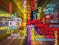 El brillar intensamente multilingue del concepto del fondo del wordcloud de la dieta Imagen de archivo libre de regalías