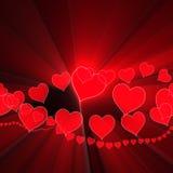 El brillar intensamente romántico del fondo de las tarjetas del día de San Valentín del corazón Foto de archivo