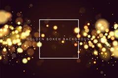 El brillo de oro circular defocused abstracto de la chispa del bokeh enciende el fondo Fondo mágico de la Navidad Elegante, brill stock de ilustración