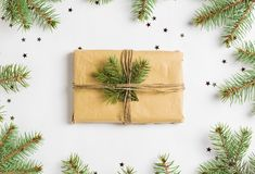El brillo del brunch del abeto de la caja de regalo de la composición de la decoración de la Navidad protagoniza Foto de archivo