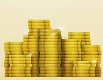 El brillo del oro acuña el tesoro Bote de la lotería Foto de archivo