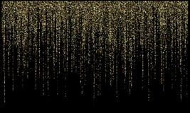 El brillo del oro de las luces de la guirnalda que cuelga líneas verticales vector el fondo del día de fiesta libre illustration