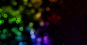El brillo digital de la Navidad chispea el bokeh de las partículas del multicolor que fluye en el fondo colorido, Feliz Año Nuevo ilustración del vector