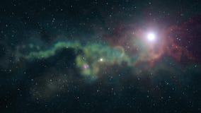 El brillo que oscila de la estrella grande solitaria en nebulosa móvil suave protagoniza el fondo de la animación del cielo noctu metrajes