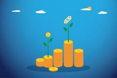 El brote del árbol de la moneda y del dólar crece de pila de las monedas, de la inversión y del concepto del negocio Fotos de archivo