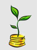 El brote del árbol del dinero crece de la pila de las monedas, ejemplo del vector del arte pop ilustración del vector