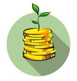 El brote del árbol del dinero crece de la pila de las monedas, icono del vector del arte pop stock de ilustración