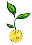 El brote del dinero crece de la moneda de oro, ejemplo del vector stock de ilustración