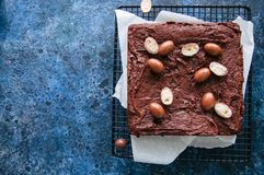 El brownie oscuro del chocolate ajusta en un estante de rejilla adornado con el cre Imagen de archivo libre de regalías