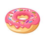 El buñuelo con el esmalte rosado y colorido asperja Ilustración del vector Imágenes de archivo libres de regalías