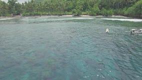 El bucear sobre la antena tropical 4k del agua poco profunda del filón almacen de metraje de vídeo