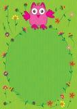 El buho feliz florece el marco Foto de archivo libre de regalías