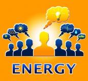 El bulbo de la energía significa el ejemplo de Electric Power 3d Imagen de archivo