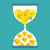 El bulbo y el diamante firman adentro el reloj de arena Fotos de archivo libres de regalías