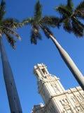 El bulding colonial y palmas, Cuba Imagenes de archivo