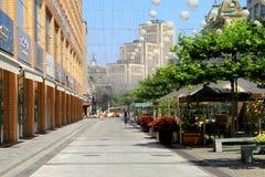 El bulevar hermoso en la ciudad de Dnipro (Dnepropetrovsk), adornada con los globos Fotografía de archivo libre de regalías