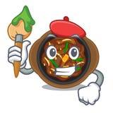 El bulgogi del artista se sirve en la placa de la mascota stock de ilustración