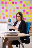 El businesslady hermoso joven en concepto de las prioridades que est? en conflicto fotografía de archivo