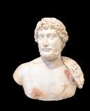 El busto de mármol del retrato del emperador Hadrian, encontró en el templo del Olympieion, de la Atenas y del x28; 130 AD& x29; Imagen de archivo libre de regalías