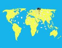 El buzón envía letras en el mapa del mundo Fotos de archivo