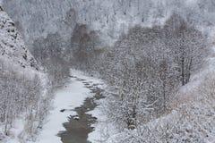 El Cáucaso las montañas de Rusia, Kabardino-Balkaria Escarcha encendido Fotos de archivo libres de regalías