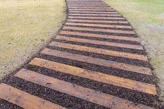 El césped de la calzada de madera curvada de la trayectoria y de la hierba verde en perspectiva compite Fotografía de archivo