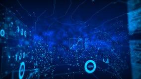 El círculo abstracto del punto del fondo con la conexión para la red futurista cibernética conecta concepto con el grano del efec stock de ilustración