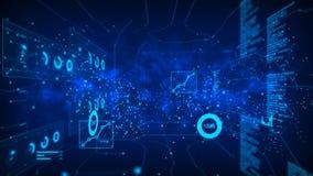 El círculo abstracto del punto del fondo con la conexión para la red futurista cibernética conecta concepto con ruido del fractal libre illustration