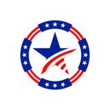 El círculo americano protagoniza diseño gráfico del emblema Fotografía de archivo libre de regalías