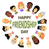 El círculo de los amigos de diversos géneros y nacionalidades como símbolo del día internacional de la amistad stock de ilustración
