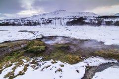 El círculo de oro en Islandia durante invierno Imágenes de archivo libres de regalías
