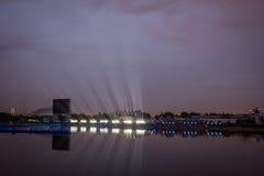 El círculo del festival de la luz El canal del rowing Imagenes de archivo