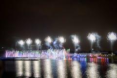 El círculo del festival de la luz El canal del rowing Imagen de archivo libre de regalías