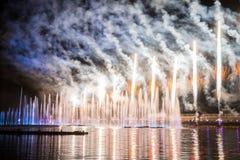 El círculo del festival de la luz El canal del rowing Fotografía de archivo