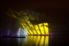El círculo del festival de la luz El canal del rowing Foto de archivo