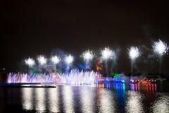 El círculo del festival de la luz El canal del rowing Fotos de archivo libres de regalías