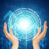 El círculo del resplandor del control de las manos consiste las palabras del negocio Imágenes de archivo libres de regalías