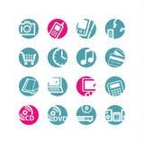 El círculo e-hace compras los iconos Imagen de archivo libre de regalías