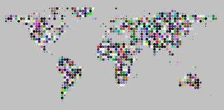 El círculo puntea el mapa del mundo del modelo de rejilla en gris Foto de archivo libre de regalías