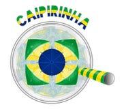 El cóctel de Caipirinha como la bandera del Brasil con amarillo y el verde beben Foto de archivo